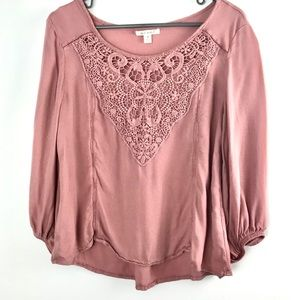 Miami Dusty Rose Long Sleeve Top Size Medium